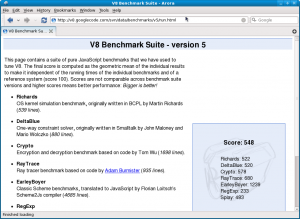 Screenshot-V8 Benchmark Suite - Arora